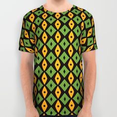 Green yellow rhombus pattern All Over Print Shirt by Laly_sb #T-shirt #tee #fashion #clothing #clothes #abstract #all over print #unisex