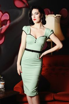 @Tiffany Grace You like this one? ON SALE Pinup rockabilly mint green wiggle by holachicaclothing, $110.00