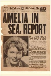 Boston's Daily Record boldly announced Amelia Earhart's disappearance in the July 3, 1937, edition. (Newseum collection)