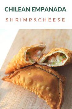 An easy recipe for Chilean Shrimp & Cheese Empanadas. So good, a kids favorite. Seafood Recipes, Mexican Food Recipes, Cooking Recipes, Seafood Empanadas Recipe, Empanadas Vegetarian, Seafood Dishes, Samosas, Tostadas, Enchiladas
