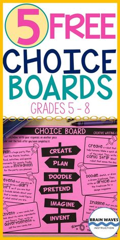 Give your middle schoolers choices with these fun and creative FREE choice boards. This set of free choice boards includes spelling activities, vocabulary activities, reading activities, creative writ Social Studies Classroom, Social Studies Activities, Spelling Activities, Vocabulary Activities, Reading Activities, Classroom Resources, Preschool Activities, Cool Writing, Creative Writing