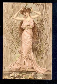 Grecian Style Glamour Lady Picks Water Lily Flower for Her Hair Nouveau Postcard | eBay