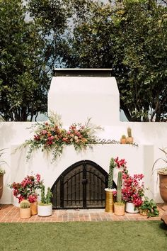 cute flowers & potted cacti etc  Casino San Clemente wedding