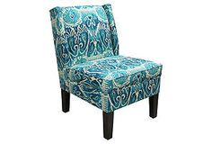 One Kings Lane - Furniture Bazaar - Porter Wingback Chair, Teal/Navy