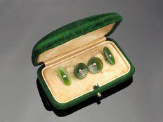 Antique Nephrite Jade Cufflinks 14k Gold in Box c1920s