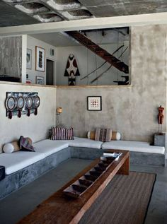 Living room of French photographer Jean-Marc Lederman's house Western Cape, South Africa. Interior Architecture, Interior And Exterior, Interior Walls, Casa Loft, African Interior, Beton Design, Interior Minimalista, World Of Interiors, Home Fashion
