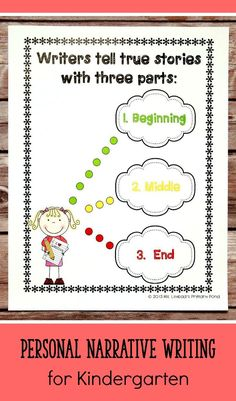 Personal Narrative Writing Lessons for Kindergarten {K Writing Workshop Unit Narrative Writing Kindergarten, Kindergarten Anchor Charts, Personal Narrative Writing, Personal Narratives, Teaching Writing, Teaching Ideas, Kindergarten Literacy, Kindergarten Activities, Preschool
