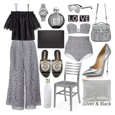 """""""Silver + Black"""" by cherieaustin ❤ liked on Polyvore featuring Versus, Home Decorators Collection, ADAM, H&M, Rochas, Givenchy, Lampe Berger, Prism, Proenza Schouler and Casadei"""