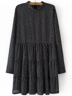 Black Stand Collar Square Print Dress -SheIn(abaday)