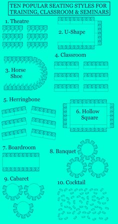 Popular seating styles for training, seminar and classrooms