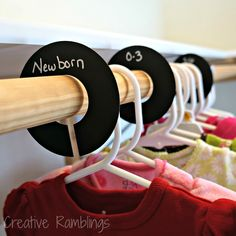 Organize your nursery closet with these chalkboard paper dividers that grow with your child.