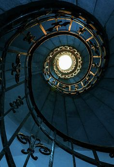 Blue And Golden Spiral Staircase by Jaroslaw Blaminsky Spiral Staircase Blaminsky blue Golden Jaroslaw spiral staircase Grand Staircase, Staircase Design, Marble Staircase, Railing Design, Ravenclaw, Bleu Nature, Beautiful Stairs, Stair Railing, Railing Ideas
