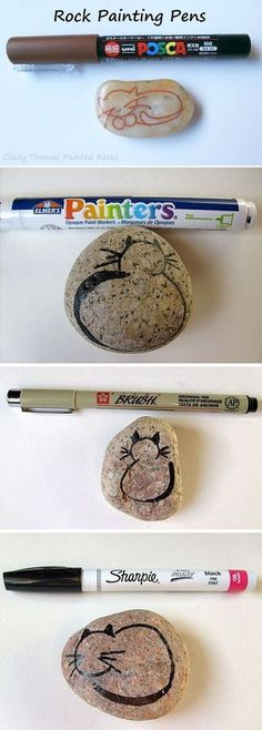 Rock & Stone Animals, Nativity Sets & More: Rock Painting Tip: Use Paint Pens Instead of a Brush for Detailing Pebble Painting, Pebble Art, Stone Painting, Stone Crafts, Rock Crafts, Rock Painting Ideas Easy, Painting Tips, Painting Videos, Posca Art