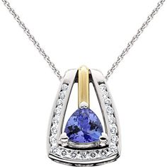 Tanzanite and Diamond Necklace in 14kt Two-Tone Gold