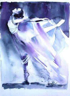 Original Watercolor Painting Purple Ballerina Dancer Wall Art/Decoration 8X11 by Kristin Glaze