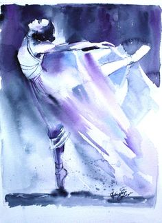 Original Watercolor Painting Purple Ballerina Dancer Wall Art/Decoration 8X11 by Kristin Glaze