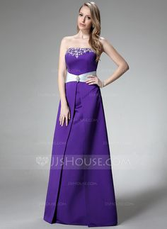 Bridesmaid Dresses - $126.99 - A-Line/Princess Strapless Floor-Length Satin Bridesmaid Dress With Embroidered Sash Beading