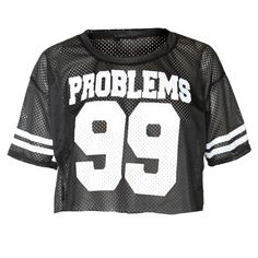 Athletic Jersey Cropped Tee, 'PROBLEMS 99' Black