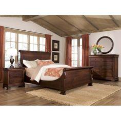 Durham Furniture Vineyard Creek 4-Piece Master Sleigh Bedroom Set in Antique Rye