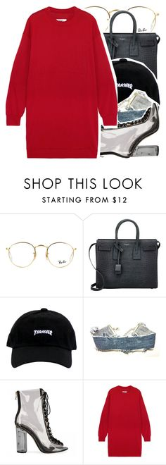 """In For It~"" by jaethelame ❤ liked on Polyvore featuring Ray-Ban, Yves Saint Laurent, Levi's and MM6 Maison Margiela"
