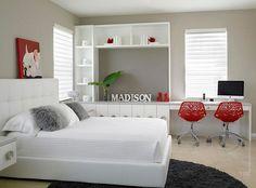 Camera da letto nelle tonalità rosso e grigio n.05