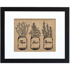 'Ball Jar of Kitchen Herbs' Framed Graphic Art