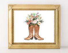Cowgirl Boot impression 5 x 7 8 x 10 Cowgirl bottes Floral Print Western Decor Western pépinière Decor aquarelle Print Girl pépinière Art Rose Art Tribal