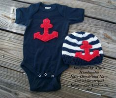 Knit Nautical Baby hat and baby One-Piece Set with Anchor , Newborn photography, Baby shower gift, childrens clothing Baby Boy Fashion, Kids Fashion, My Bebe, Nautical Baby, Nautical Anchor, Onesies, Baby Onesie, Everything Baby, Baby Time