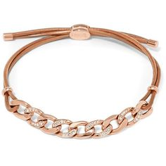 Fossil Glitz Curb Chain Starter Bracelet ($38) ❤ liked on Polyvore featuring jewelry, bracelets, fossil jewelry, chains jewelry, fossil charms, polish jewelry and charm bangles