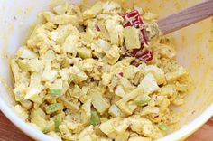 Curry egg salad - This recipe for curry egg salad by A Cozy Kitchen intrigued us, because it not only (obviously) includes curry powder, cayenne pepper and Dijon mustard (yum!) but also chopped red onion for extra kick and one diced Granny Smith apple.