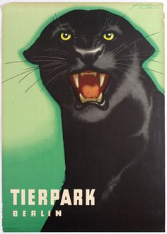 Visit http://www.antikbar.co.uk/antikbar-auctions/ to view our catalogue and register to bid at our next Original Vintage Poster Auction on Saturday 1 July. AntikBar.co.uk #LotOfTheDay #Berlin #Zoo #Panther