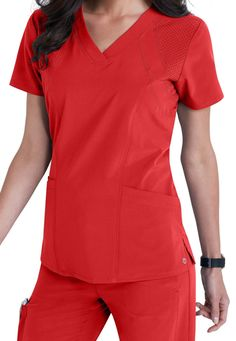 Be the first to try the new Barco One! This collection of performance wear is designed specifically for healthcare professionals who are constantly on the move. The perforated front and back panels of this fashionable scrub top in EXCLUSIVE Racer Red provide breathability and keep you cool.