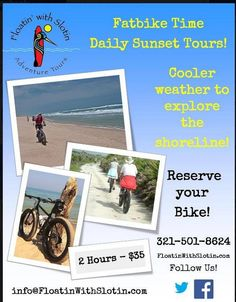 Fatbike tours along the shore! Cocoa Beach Fatbike rides at sunset. $35 for 2 Hours  Call to schedule 321-501-8624