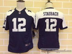 Youth NFL Dallas Cowboys #12 Staubach Navy/White Jersey