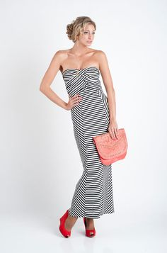 Black and White Striped Maxi Long Strapless Dress by Minuet