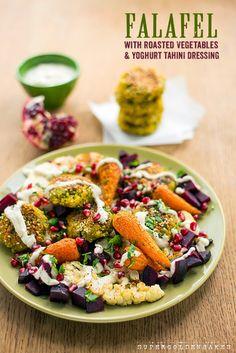 A vegetarian feast – falafel with roasted vegetables & yoghurt tahini dressing - Supergolden Bakes