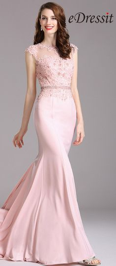 eDressit Carlyna Pink Lace Beaded Mermaid Prom Dress