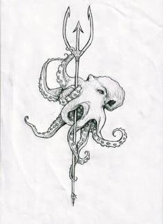 Poseidon& trident tattoo - Maybe with color or leave it the way it is, Poseidon Tattoo, Poseidon Trident, Poseidon Symbol, Poseidon Drawing, Tattoos Mandala, Ocean Tattoos, Octopus Tattoos, Ocean Sleeve Tattoos, Octopus Tattoo Sleeve