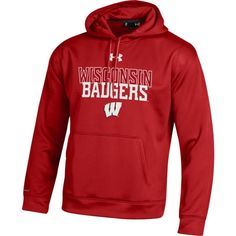 Under Armour Men's Wisconsin Badgers Red Armour Fleece Hoodie, Size: Medium, Team