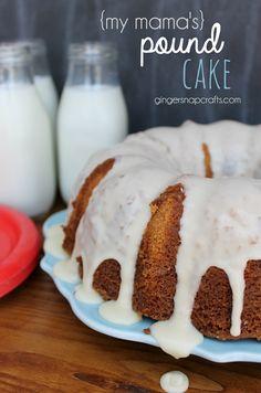 {my mama's} Pound Cake at GingerSnapCrafts.com #recipe   #milk @DairyPure #ad