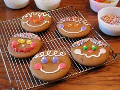 Gingerbread Face Cookies by kaboose.com: Easier to cut out than Gingerbread people and just as much fun to decorate. #Christmas #Cookies