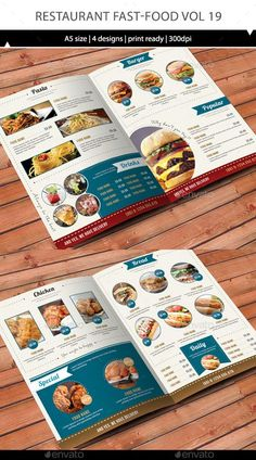 Buy Restaurant Menu Vol 19 by on GraphicRiver. All you need for own Restaurant. You can use it for an individual menu or merge it for one identity bundle. Menu Restaurant, Restaurant Design, Cafe Menu Design, Food Menu Design, Menu Layout, Book Design Layout, Weekly Menu Template, Menu Flyer, Menu Book