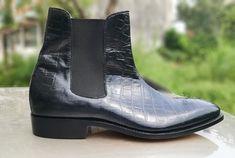 Custom Handmade Men,s Chelsea Black Leather Crocodile Texture Ankle Boots, - Dress/Formal Chelsea Shoes, Black Chelsea Boots, Leather Chelsea Boots, Black Boots, Mens Shoes Boots, Ankle Boots, Men's Shoes, Dress Shoes, High Leather Boots