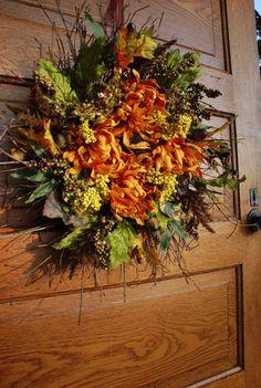 Autumn Twig Wreath, Sunflower Wreath. $42.00, via Etsy.