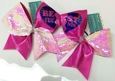 Bows by April - The BFF Best Friends Pink Mystique and Reversible Pink and Pearl Sequins Cheer Bow Set, $30.00 (http://www.bowsbyapril.com/the-bff-best-friends-pink-mystique-and-reversible-pink-and-pearl-sequins-cheer-bow-set/)