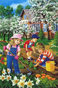Jar v záhrade Spring Activities, Preschool Activities, Cenas Do Interior, Caleb Y Sofia, Art For Kids, Crafts For Kids, Kids Work, Picture Composition, Farm Art