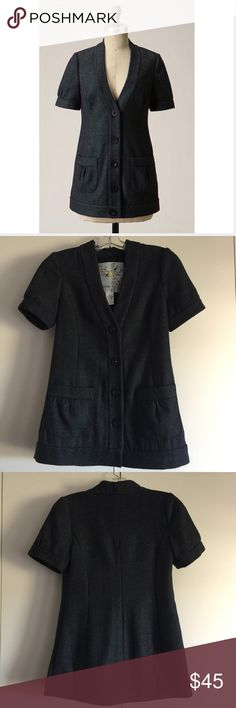 Anthropologie jacket by Tabitha - size 4 Anthropologie cardi jacket by Tabitha - size 4. A classic sweater shape reimagined by Tabitha as tweedy shirt-sleeves outerwear. Lined. Acrylic, polyester, wool, rayon, cotton. Excellent, like-new condition. Anthropologie Jackets & Coats
