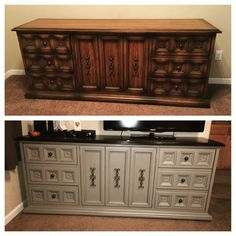 Dresser makeover using general finishes Java gel stain and Annie Sloan chalk paint in Linen. Topped with a coat of polyurethane.