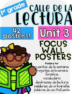 Do you teach 1st grade Calle de la lectura (Reading Street by Scott Foresman)? This is a focus chart bundle of 42 posters. Each week you will find 7 different posters. Posters are for Cuento de la semana: Story of the week