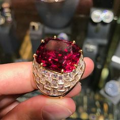 The best #rubellite we have ever seen. About 30 carats set in a great diamond ring by #OscarHeyman